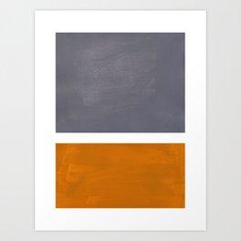 Grey Yellow Ochre Rothko Minimalist Mid Century Abstract Color Field Squares Art Print