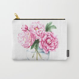 Pink Peony Painting, Watercolor Peony Art, Pink Flower Bouquet Carry-All Pouch