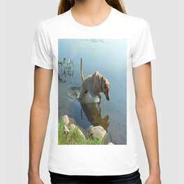 Labrador Retriever Leaps for Fish T-shirt