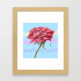 Blue Sky Rose Framed Art Print