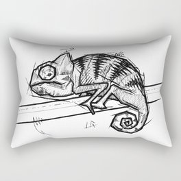 Chameleon Handmade Drawing, Made in pencil and ink, Tattoo Sketch, Tattoo Flash, Blackwork Rectangular Pillow