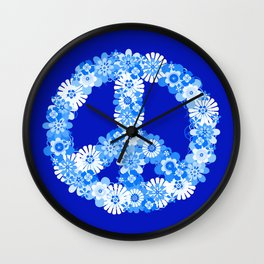 Peace Sign Floral Blue Wall Clock