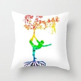 Rainbow Yoga Pose Throw Pillow
