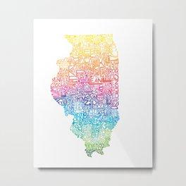 Typographic Illinois - Spring Metal Print