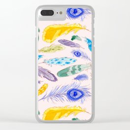 Jewel Tone Feathers Clear iPhone Case