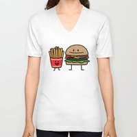 french fries V-neck T-shirts featuring Happy Cheeseburger and French Fries by Berenice Limon