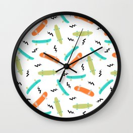 Skateboards orange and green pattern great decor for nursery kids rooms boys and girls Wall Clock