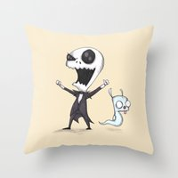 invader zim Throw Pillows featuring Invader Jack!  by Ludwig Van Bacon