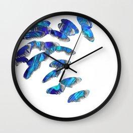 Blue And White Modern Art - Falling 2 - Sharon Cummings Wall Clock