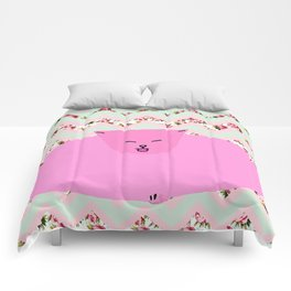 Chevron Pattern Pastel Floral Cat Art Comforters