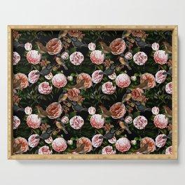 Vintage & Shabby Chic - Blush Camellia & Kingfishers Serving Tray
