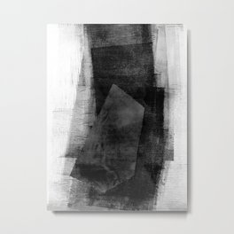 Dark Grey Geometric Shape - Black and White Abstract Metal Print