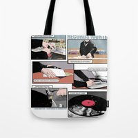 records Tote Bags featuring Records Worth by Zombie Rust