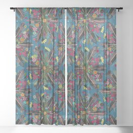 bohemian posy blue Sheer Curtain