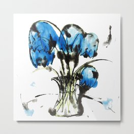 Music Clear and Blue: an elegant design of beautiful bellflowers in a glass vase Metal Print