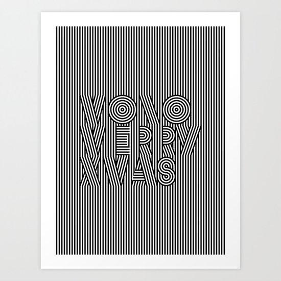 Mono Merry Xmas Art Print