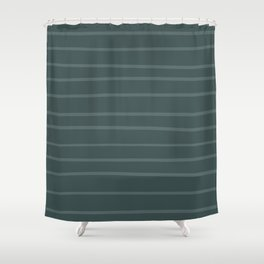 Juniper Berry Green PPG1145-6 Hand Drawn Horizontal Stripes on Night Watch PPG1145-7 Shower Curtain