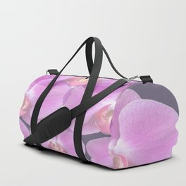 PINK ORCHIDS & GREY FLORAL ABSTRACT ART Duffle Bag
