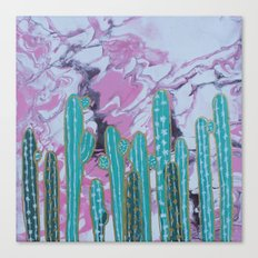 Pink Cactus with Gold Outline Canvas Print