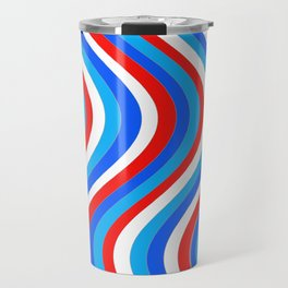 Wavy Lines - Red and Blue Travel Mug