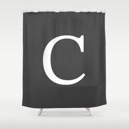 Very Dark Gray Basic Monogram C Shower Curtain