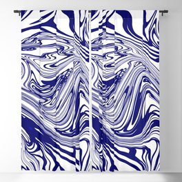 Blue Abstract Ink Blackout Curtain