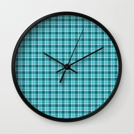 Teal Plaid Wall Clock