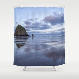 Haystack Rock at Low Tide in Early Morning Shower Curtain