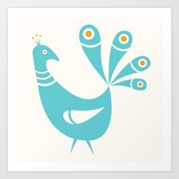 mid century Art Prints featuring Mid Century Peacock by Amy Newhouse