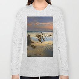 Sunset reflections at the sea. Tarifa beach Long Sleeve T-shirt