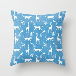 Animal kingdom. White silhouettes of wild animals. African giraffes, leopards, cheetahs. snakes, exotic tropical birds. Tribal primitive ethnic nature blue grunge distressed pattern. Throw Pillow
