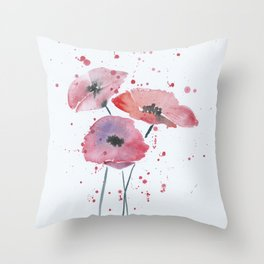 Red poppy flowers watercolor painting Throw Pillow