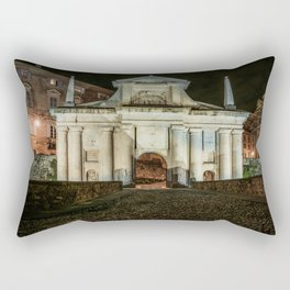 Front view of Porta San Giacomo in the upper city of Bergamo. Night cityscape. Rectangular Pillow