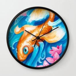 Koi fish in a stream Wall Clock