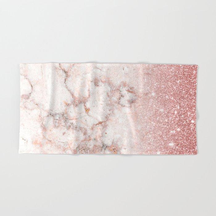 Elegant Bathroom Rose: Elegant Faux Rose Gold Glitter White Marble Ombre Hand