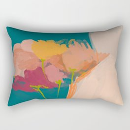 Colorful Messy Flowers On Teal Rectangular Pillow