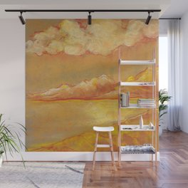 Orange hot sunset landscape with dunes and lake Wall Mural