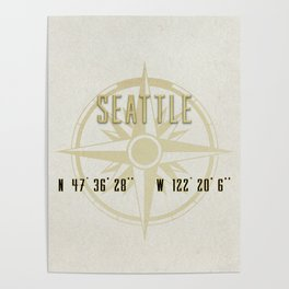 Seattle - Vintage Map and Location Poster