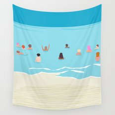 Stoked - memphis throwback retro neon pop art illustration socal cali beach surfing swimming sea Wall Tapestry