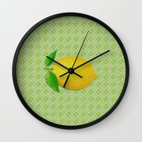 lemon Wall Clocks featuring Lemon by Mr and Mrs Quirynen