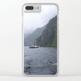 Boat on Milford Sound Clear iPhone Case
