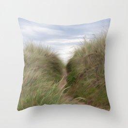 sand beach dunes pathway Throw Pillow