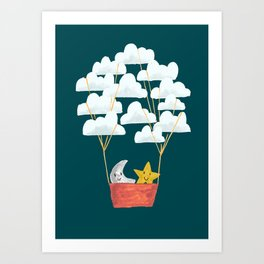 Hot cloud baloon - moon and star Art Print