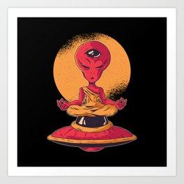 Meditating Alien Third Eye Monk Space Art Print