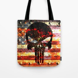 Skull on Rusted American Flag Tote Bag