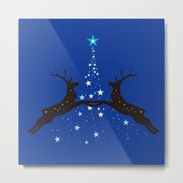 Star Christmas Tree with reindeer - Blue Metal Print