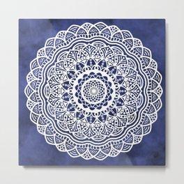 Deep Ocean Blue Mandala - LaurensColour Metal Print