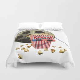 3D Movie Reel and Buttered Popcorn Duvet Cover