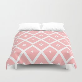 Abstract geometric pattern - pink and white. Duvet Cover