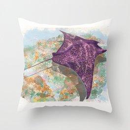 Colorful Ocean Manta Ray Throw Pillow